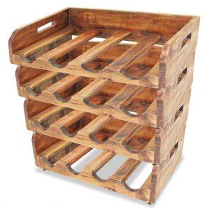 Wine Racks 4 pcs for 16 Bottles Solid Reclaimed - Wood