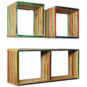 vidaXL Wall Shelf Set 3 pcs Multicolour Solid Reclaimed Teak