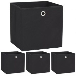 Storage Boxes 4 pcs Non-woven Fabric - Black