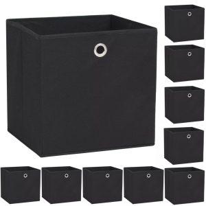 vidaXL Storage Boxes 10 pcs Non-woven Fabric 32x32x32 cm Black