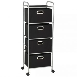 Shelving Unit with 4 Storage Boxes - Steel and Non-woven Fabric