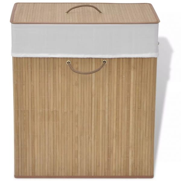 Small Rectangular Bamboo Laundry Bin – Natural
