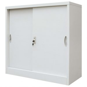 Office Cabinet with Sliding Doors - Grey