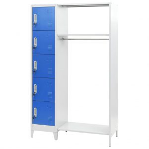 Locker Cabinet with Coat Rack - Blue and Grey - Metal