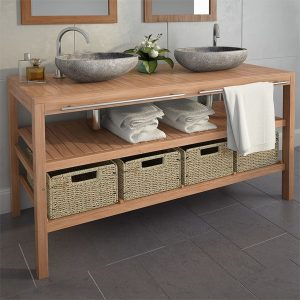 Bathroom Vanity Cabinet with 4 Baskets - Solid Teak