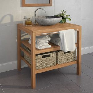 Bathroom Vanity Cabinet Solid Teak with Riverstone Sink