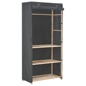 3-Tier Wardrobe Grey - Fabric