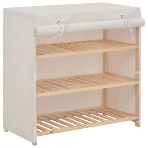 Shoe Cabinet with Cover - White Fabric