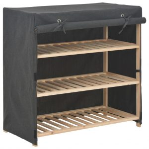Shoe Cabinet with Cover - Grey Fabric