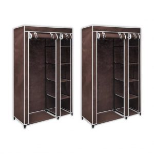 Fabric Wardrobes 2 pcs - Brown
