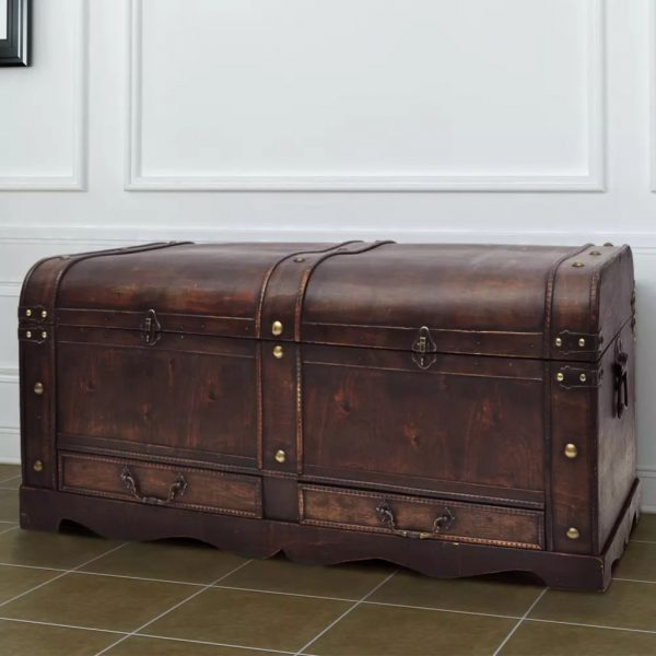 Wooden Treasure Chest Large - Brown