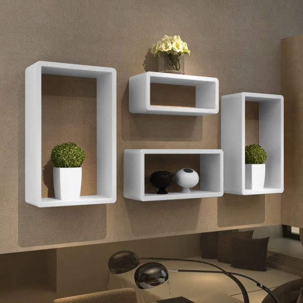 Cuboid Wall shelf set of 4 – White