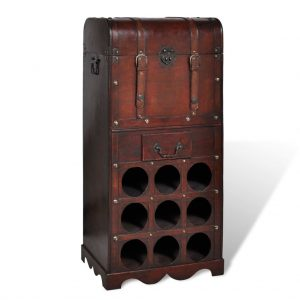 Wooden Wine Rack for 9 Bottles with Storage