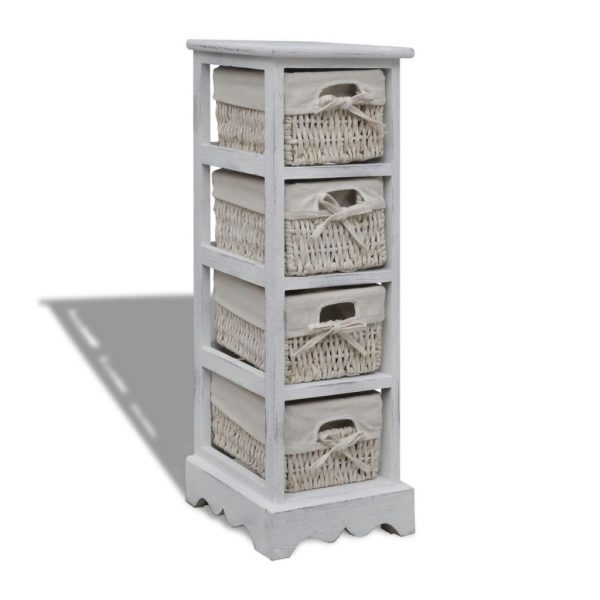 4 Basket Wooden Storage Rack – White