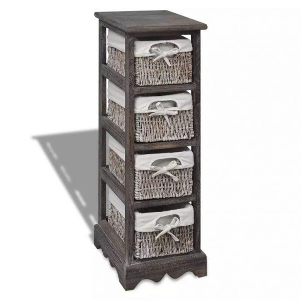 4 Basket Wooden Storage Rack – Brown