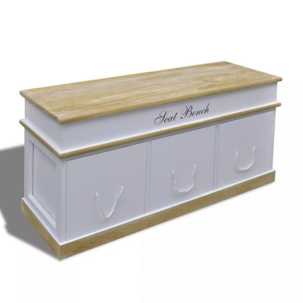 Large 3 Drawer Storage Bench – White