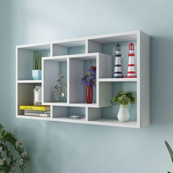 8 Compartment Floating Wall Display Shelf – White