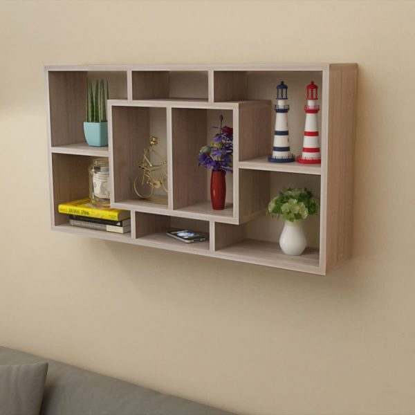 8 Compartment Floating Wall Display Shelf – Oak