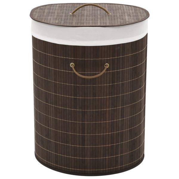 Oval Laundry Bin – Dark Brown