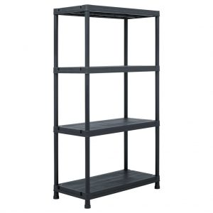 Storage Shelf Rack - Black 100 kg Plastic