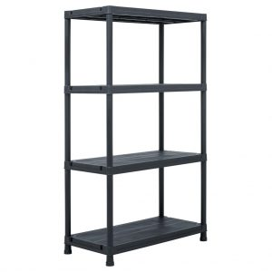 Storage Shelf Rack - Black 200 kg Plastic