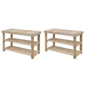 2-in-1 Shoe Rack with Bench Top - Solid Wood