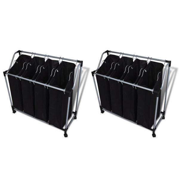 Laundry Sorters with Bags - Black and Grey