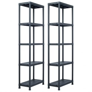 Storage Shelf Racks 2 pcs Black -Plastic