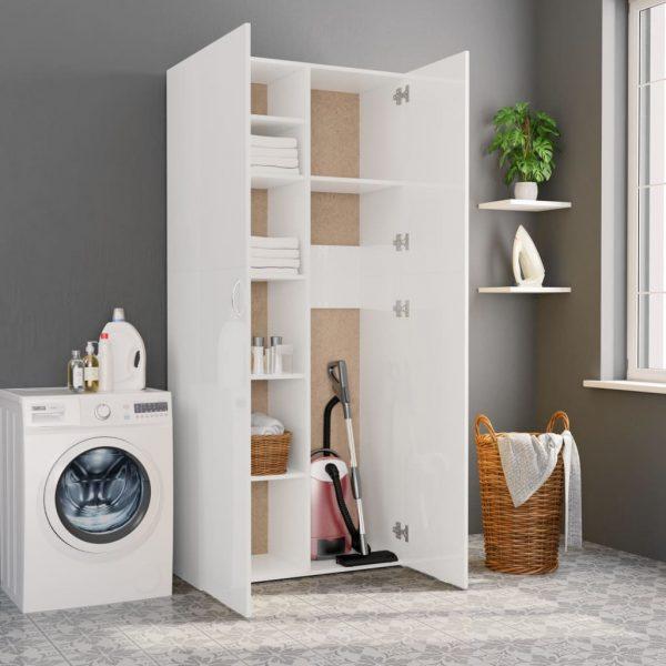 Storage Cabinet - High Gloss White Chipboard