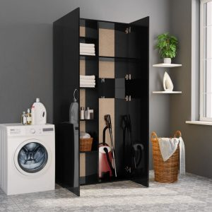 Storage Cabinet - High Gloss Black Chipboard