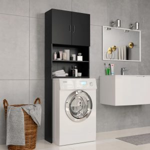 Washing Machine Cabinet - Black Chipboard
