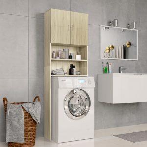 Washing Machine Cabinet High Gloss White- Chipboard