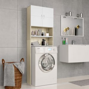 Washing Machine Cabinet White and Sonoma - Chipboard