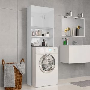 Washing Machine Cabinet High Gloss White- Chipboard