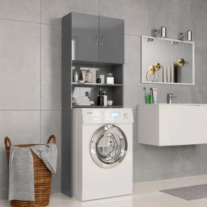 Washing Machine Cabinet High Gloss Grey -Chipboard