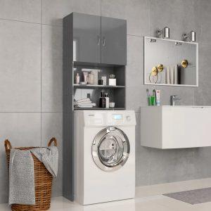 Washing Machine Cabinet High Gloss Grey -Chipboard
