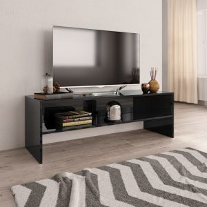 TV Cabinet High Gloss Black - Chipboard