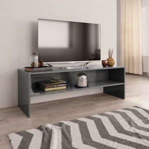 TV Cabinet High Gloss Grey - Chipboard