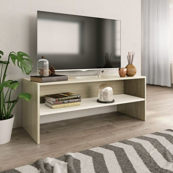 TV Cabinet White and Sonoma -Chipboard