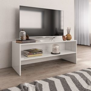 TV Cabinet High Gloss White-Chipboard