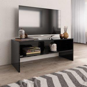 TV Cabinet High Gloss Black - Chipboard