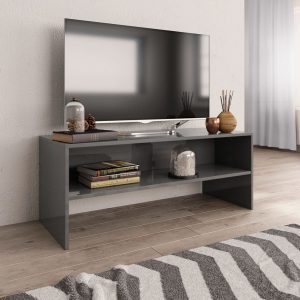 TV Cabinet High Gloss Grey -Chipboard