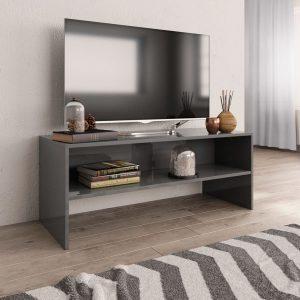 TV Cabinet High Gloss Grey -Chipboard