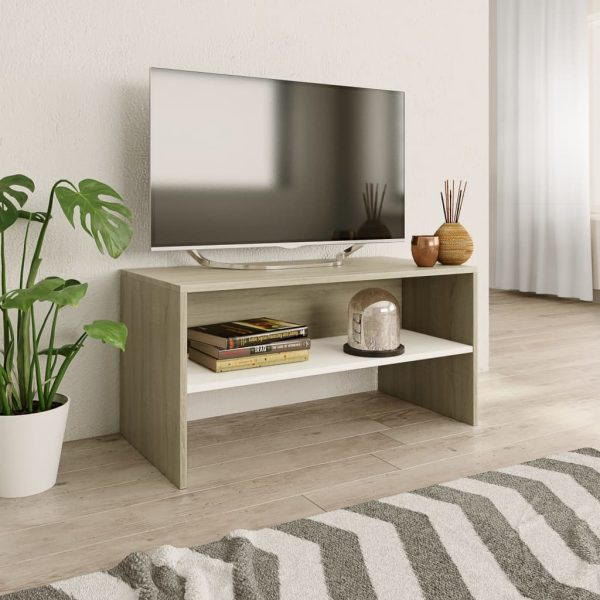 TV Cabinet White and Sonoma - Chipboard