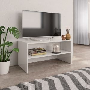 TV Cabinet High Gloss White - Chipboard