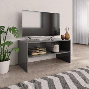 TV Cabinet High Gloss Grey - Chipboard