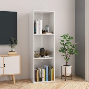114cm Book Cabinet - High Gloss White