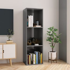 114cm Book Cabinet - High Gloss Grey