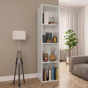 143cm Book Cabinet - High Gloss White