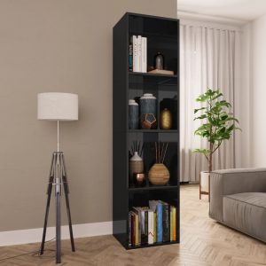 143cm Book Cabinet - High Gloss Black